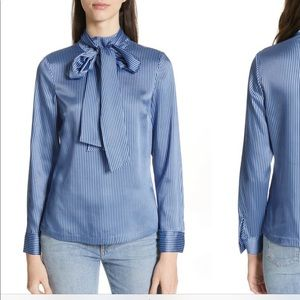 Ted baker blue striped blouse with neck tie
